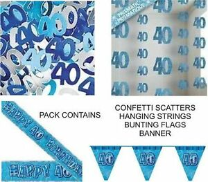 40th birthday party decorations pack blue banner flags for 40th birthday decoration packs