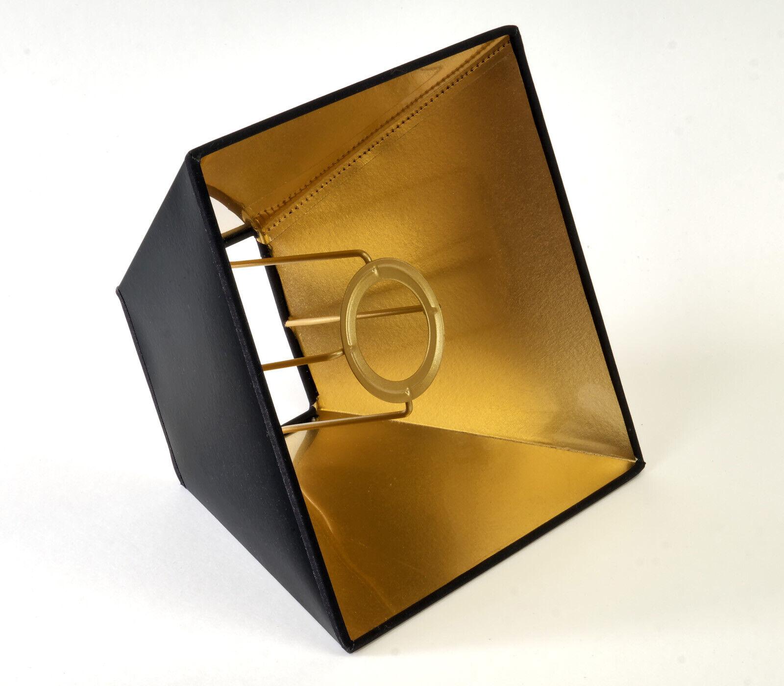 Lampenschirm Schwarz Gold für Tisch Und Stehleuchten  Eckig Quadratisch Pyramide