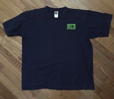 The North Face Fine Alpine Equipment Navy Blue Lime Green T Shirt Vtg XL North Face Equipment