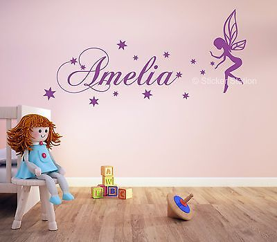Fairy Personalised Name Wall Art Mural Decal Sticker