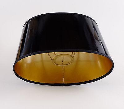 Lampenschirm Elegant Schwarz Gold Lack Oval Für  Tischlampen E27 Hochwertig
