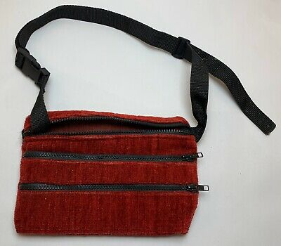 Vintage Homemade Maroon Red Upholstery Fabric Fanny Pack Used Good Condition