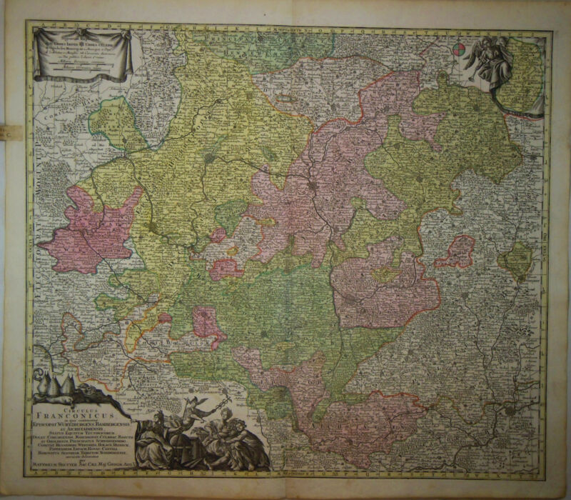 1745 Genuine Antique hand colored ornate map Germany, Franconicus. G.M. Seutter