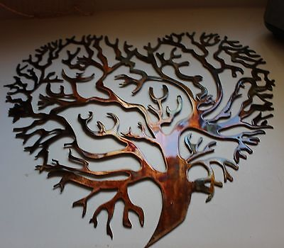 Living Tree Coral Branch Heart Metal Wall Art Decor Copper/Bronze 20""