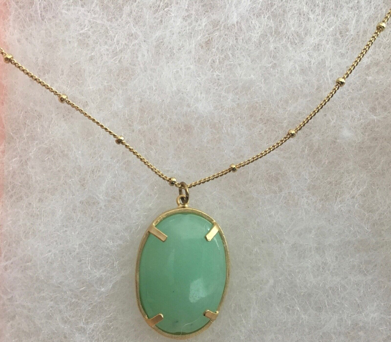 Ladies Pendant Necklace Green Turquoise Set In Gold Fashion