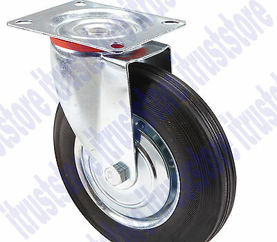 8 Inch Solid Hard Rubber Flat Free Rotating Tire Wheel Rim Swivel Caster
