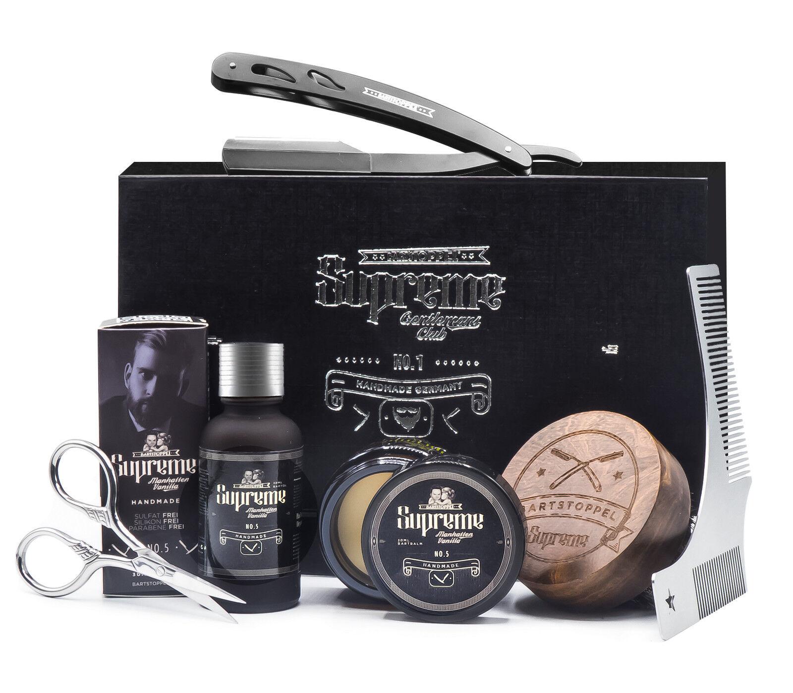 Bartpflege Set Bartöl Vanille Bartwachs mit Rasiermesser Männer Geschenk