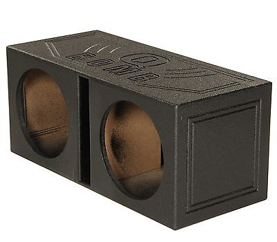 "NEW! Q-POWER QBOMB12V Dual 12"" Vented Port Subwoofer Sub Box w/ Bedliner Spray"
