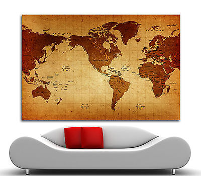 Vintage Giclee Canvas (Canvas Giclee Home Wall Prints Vintage Old World Map Print Color Picture 2)