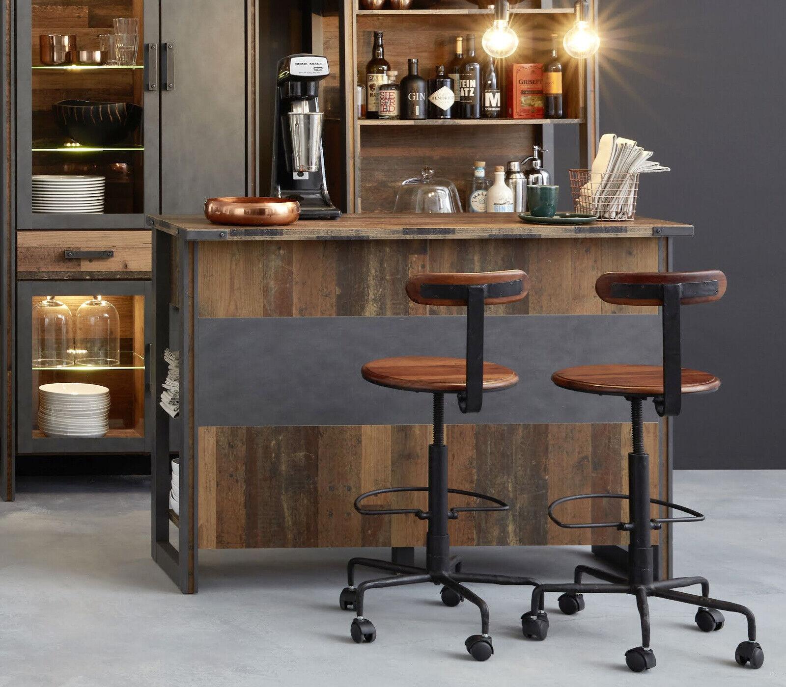 Bar Theke Hausbar Used Wood Vintage grau Matera Stehtisch Bartresen 140 cm Prime