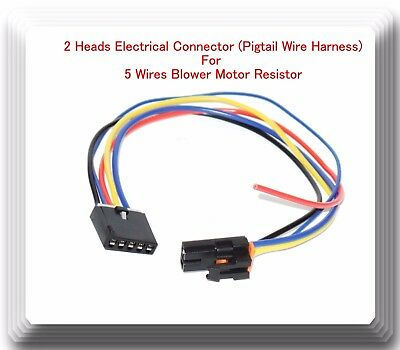(2  Heads 5 Wire Harness Pigtail Connector For Blower Motor Resistor Fits:GM Ford)