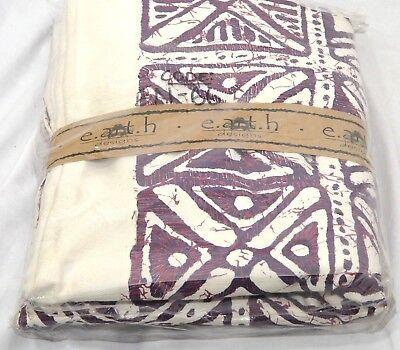 - Curtain Panel Tab Top Cotton Denim Duck Earth Design African Batik Purple 56x83