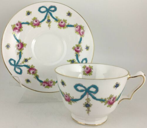 Crown Staffordshire Blue Bow Cup & saucer