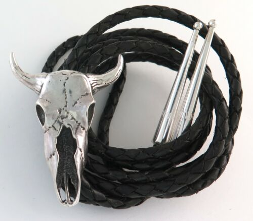 Awesome Solid Sterling Silver Relief Bull Skull Western Bolo Tie