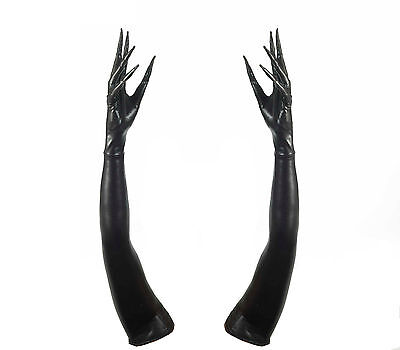 Long Fingered Black Rubber Gloves Goth Witch Adult Halloween Costume Accessory
