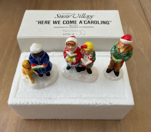 Dept 56 SNOW VILLAGE Accessory 1990 HERE WE COME A CAROLING 51187 RETIRED 1992