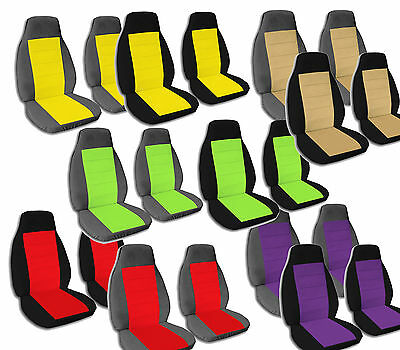 2 Captain Chair Seat Covers 2 Armrest Covers Ford F-150 F-250 F-350 Choose Color ()