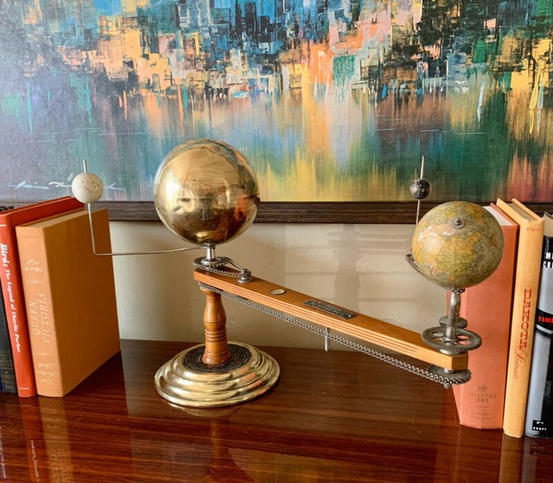 Trippensee Planetarium Brass Maple Orrey Complete Operational See Video Demo