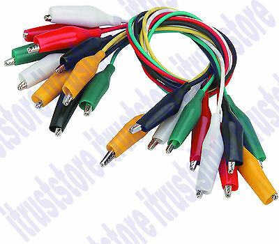 10 Pc Electrical Jumper Jump Alligator Clip Set Alligater Test Leads Probe Wires