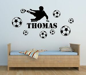 Football player boys personalised any name bedroom wall for Decalque mural
