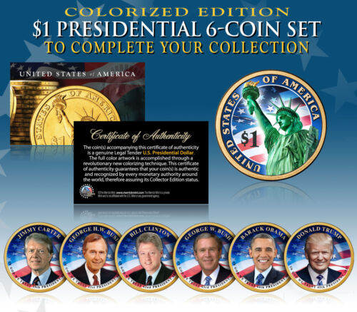 2016 Presidential $1 Dollar COLOR 2-SIDED LIVING PRESIDENTS 6-Coin Set w/ Trump