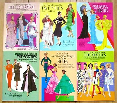 Lot 6 GREAT FASHION DESIGNS 20s 30s 40s 50s 60s Paper Dolls Tom Tierney Dover L5