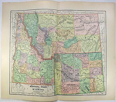 Original 1891 Map of Montana, Idaho & Wyoming by Hunt & Eaton