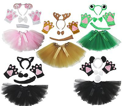 Halloween Animal School Party Unisex Kids Headband Bow Tail Paw Skirt 5p Costume