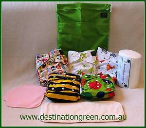 Mini Modern Cloth Nappy Starter Pack (5xNappies,Wetbag,Liners,Boo Beacon Hill Manly Area Preview