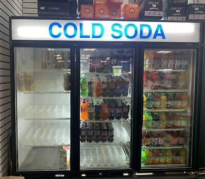Black True Manufacturing Three Door Soda Fridge