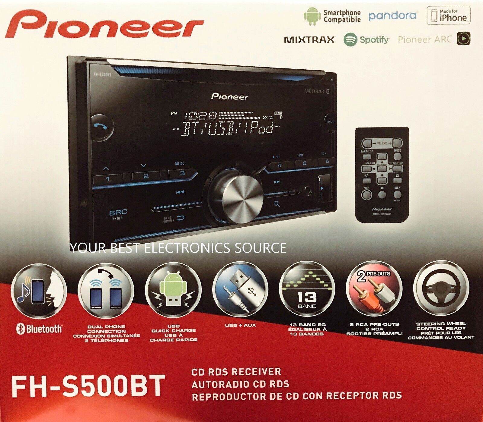 $93.50 - NEW Pioneer FH-S500BT Double-DIN Car Audio Stereo w/ Bluetooth