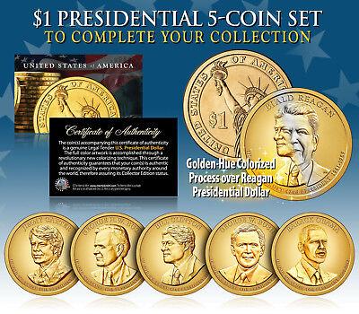 2016 Presidential $1 Dollar Colorized GOLDEN HUE 5-Coin Set LIVING PRESIDENTS