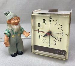 ELGIN Vintage Electric Alarm Clock Plug-In Mod. E-800 MCM Retro