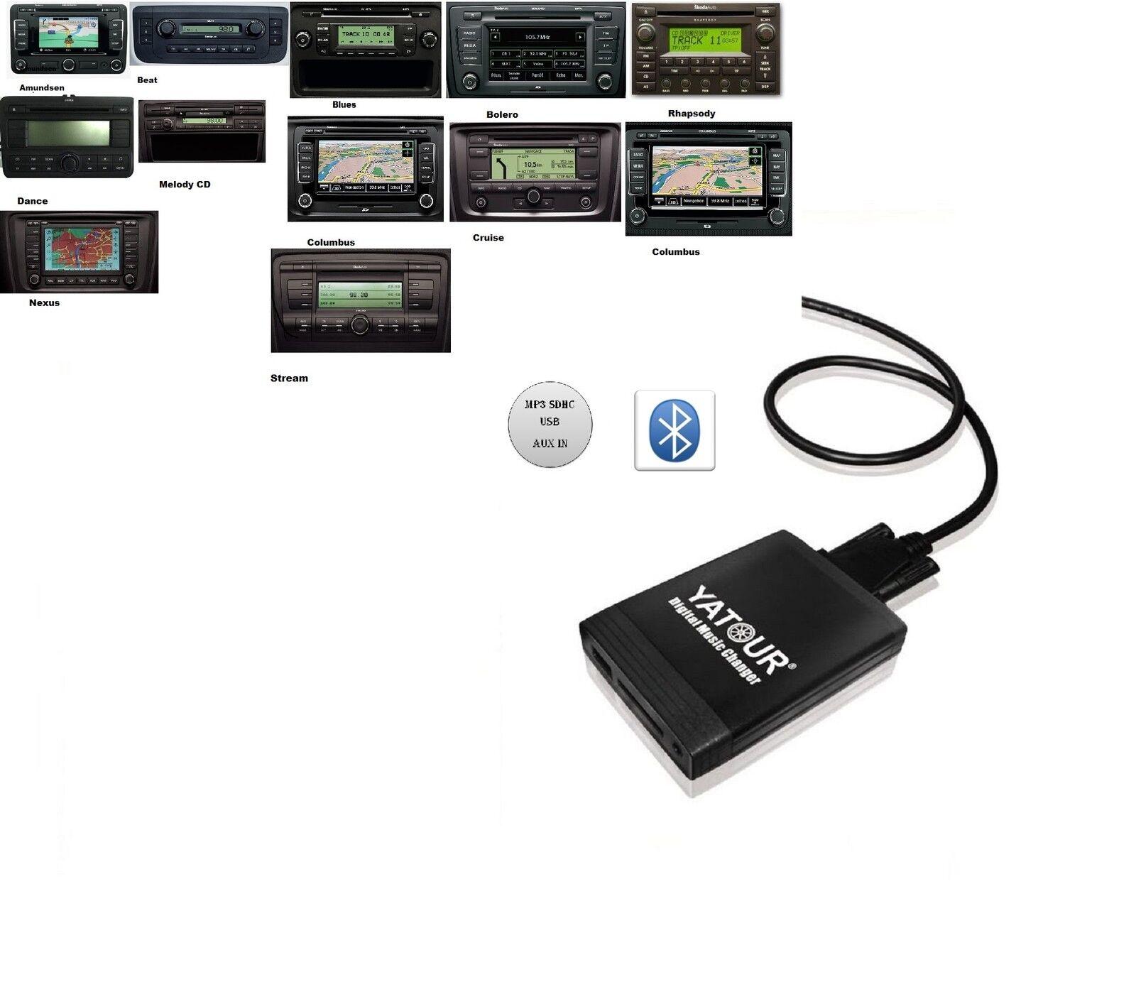 Bluetooth USB SD AUX MP3 Adapter Skoda 12 Pin Stream RCD