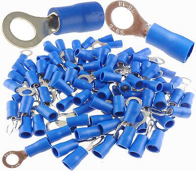 14-16 Gauge Vinyl Ring 10 Connector 100 Pk Blue Crimp Terminal Awg Ga Car Suv