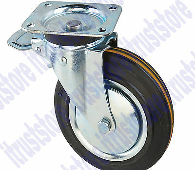 8 Inch Solid Hard Rubber Flat Free Rotating Tire Wheel Rim Swivel Brake Caster