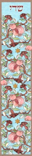 Pomegranates & Stars of David Jewish Mezuzah Case - Hand Made Judaica Art
