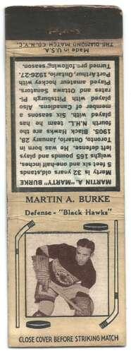 c1935 NHL Hockey Matchbook Martin Burke Chicago Blackhawks