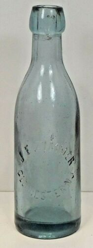 c1880 LITE BLUE  COLORED BLOB TOP SODA BOTTLE- J.F. ZIMMER  GLOUCESTER,N.J.