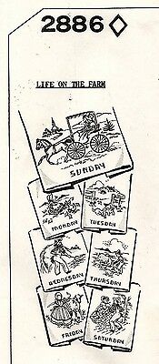 Vtg Mail Order Embroidery Transfers Life On The Farm Pattern 2886