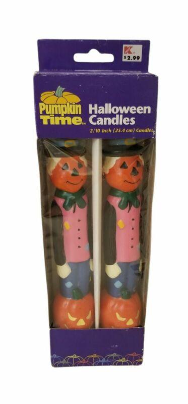 "Vintage Pumpkin Time Halloween Pumpkinhead Scarecrow Taper Candles 10"" set 90s"