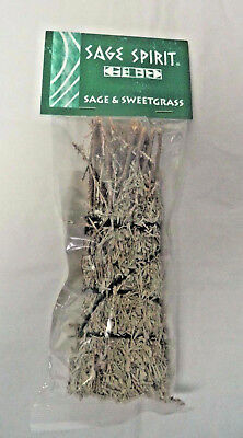 """Sage & Sweetgrass Smudge Stick: 5"""" House Cleansing Remove Negative Energy"""