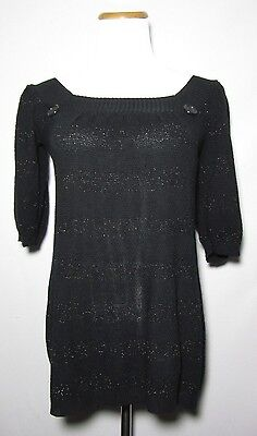 DAYTRIP Tunic Sweater Black Metallic Shimmer Size Small Short sleeve Day Trip Metallic Sweater
