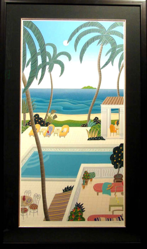 "Thomas Mcknight ""hawaiian Lagoon"" Serigraph With Custom Frame Hand Signed"