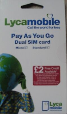 Lycamobile Sim Card - Pay as you Go - with £2 Free Credit* - Cheap Calls