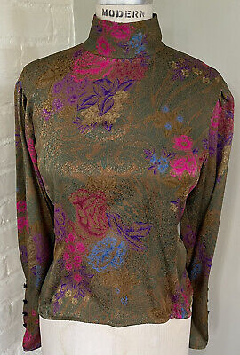 Emanuel Ungaro Vintage Silk Blouse Size 6 Puff Sleeves Back Buttons High Neck