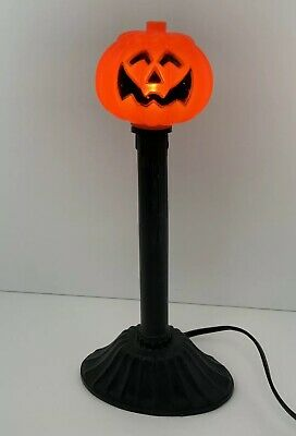 Vintage Halloween Plastic Blow Mold Light Jack O Lantern Pumpkin Candle Lamp 10""
