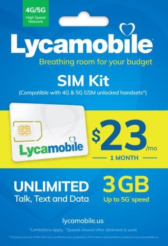 Lycamobile $23 Plan 30 Days Preloaded SIM Card Triple Cut Talk /Text 4G LTE