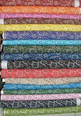 - Bandana Print Blender Quilt Fabric U Pick Red Blue Green Yellow Black Orange FQ