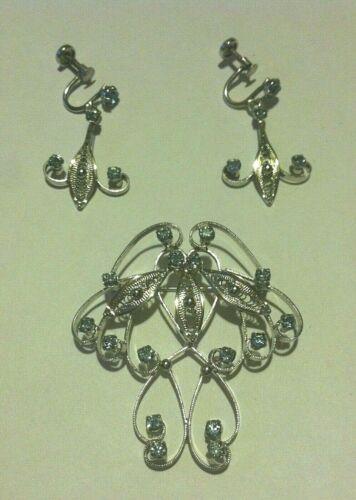 Vintage Joseph Esposito ESPO FLEX Sterling Pin Brooch Earrings Blue Zircon/CZ
